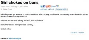 Girl chokes on buns - Global Times