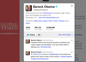 Global Times follows @BarackObama