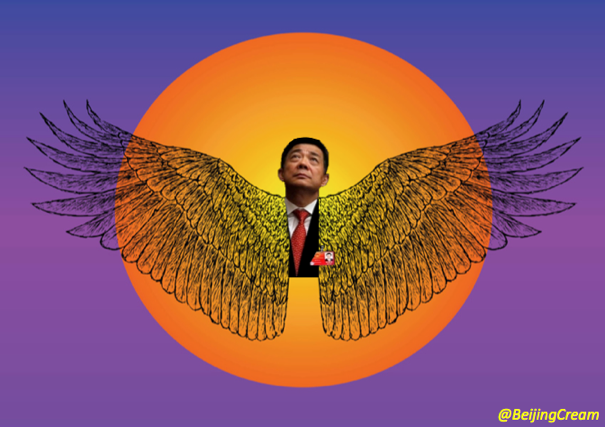 Bo Xilai portrayed as Greek mythology character Icarus, who tried to fly too close to the sun with a set of wings made from wax.
