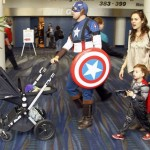 Captain America at airport