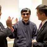 Yesterday at the US Embassy; pictured (left to right): Harold Koh, Chen Guangcheng, Gary Locke (AP Photo/US Embassy Beijing Press Office, HO)