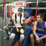 I'm in the (homemade) Optimus Prime costume; Hong Kong subway, 2008