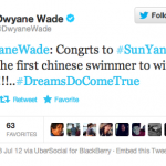 Dwyane Wade Tweeted Congratulations To Sun Yang (China's Next Liu Xiang?)