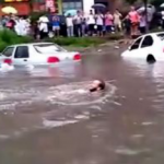 Foreigner swims after rainstorm