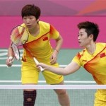 Shuttlers Yu Yang and Wang Xiaoli
