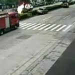 Dog Crossing The Street Results In Car Going Up In Flames
