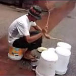 This Busker Drums To His Own Beat