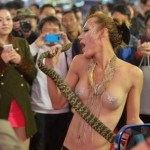 Car Show Takes Chinese-Topless-Model Act To New Level: With Snakes