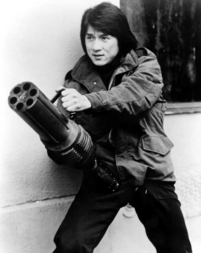 Jackie Chan with minigun