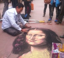 Street Artist Does Damn Good Chalk Etching Of Mona Lisa (Video)