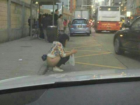 Chinese woman squatting