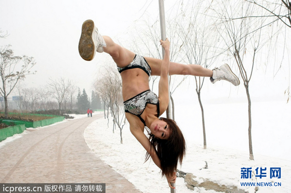 Pole dancers in snow 1