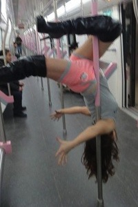 Wuhan subway pole dance girl 5