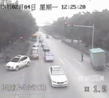Jaywalking Asshole Causes Truck To Swerve Into A Pole