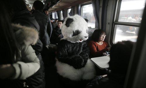 Panda on train