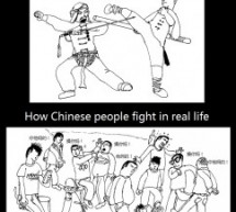 Laowai Comics: Movies vs. Reality, Chinese Fight Version