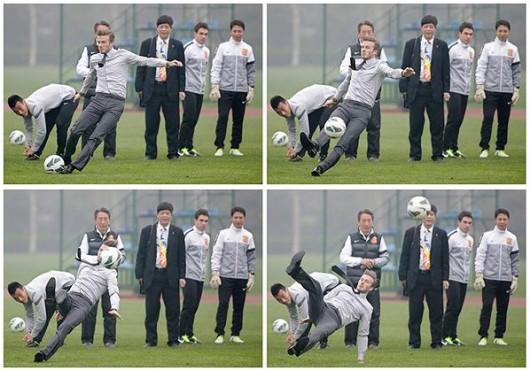 David Beckham slips