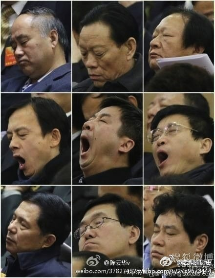 Delegates sleeping at the NPC
