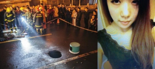Girl disappears down manhole
