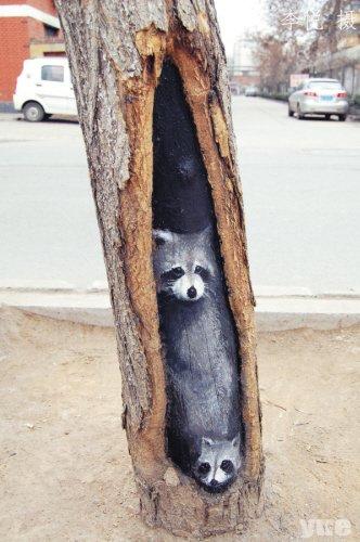 Hollow tree paintings in Beijing 4