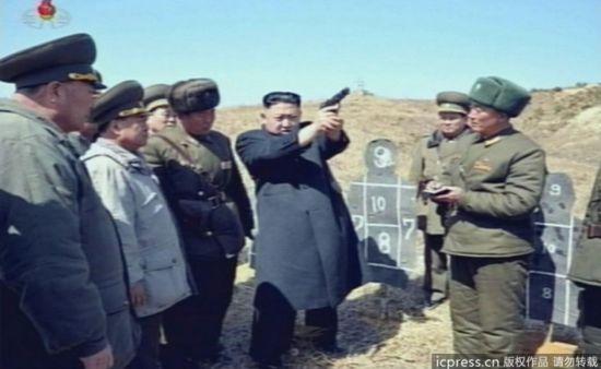 Kim Jong-un shoots a gun