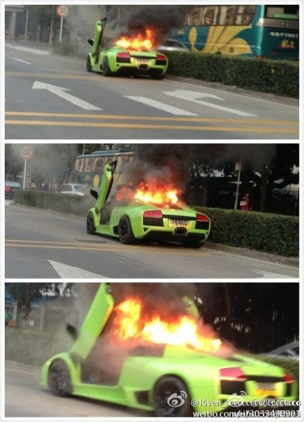 Lamborghini on fire in Shenzhen