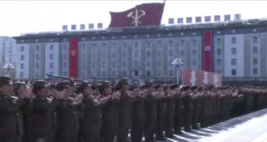 Mass rally at Kim Il-sung Square in Pyongyang