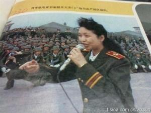 Peng Liyuan singing to troops on Tiananmen in 1989 before crackdown