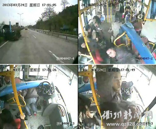 Pole through bus in Zhejiang
