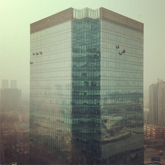 Window washers in Beijing