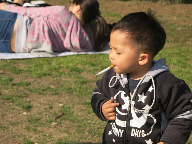 Chinese cigarette smoking baby in Shanghai 2