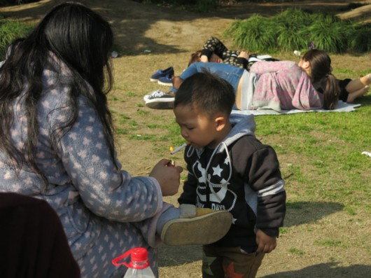 Chinese cigarette smoking baby in Shanghai
