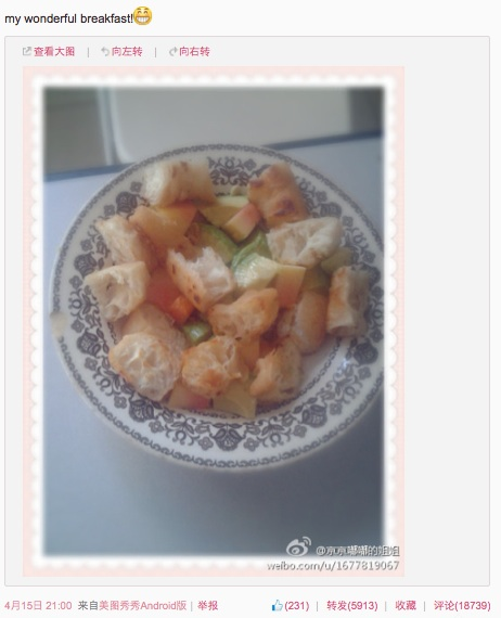 Lu Lingzi final Sina Weibo post - my wonderful breakfast