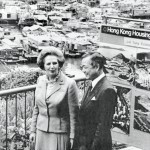 Margaret Thatcher visits the Aberdeen Housing Estate on December 20, 1984, accompanied  by housing official L.K. Chan (Bettmann/CORBIS)