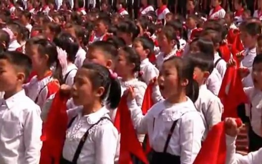 North Korean children swearing their lives for Kim Jong-un