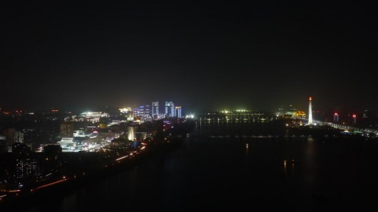 Pyongyang, North Korea at night