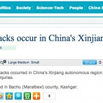Xinhua reports on Xinjiang violence