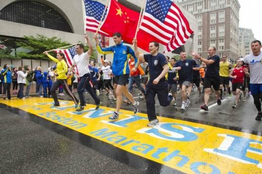 Boston Marathon flags