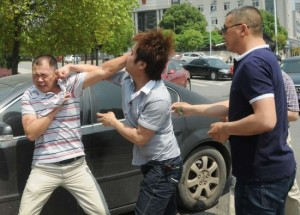 Car owners punch away fight