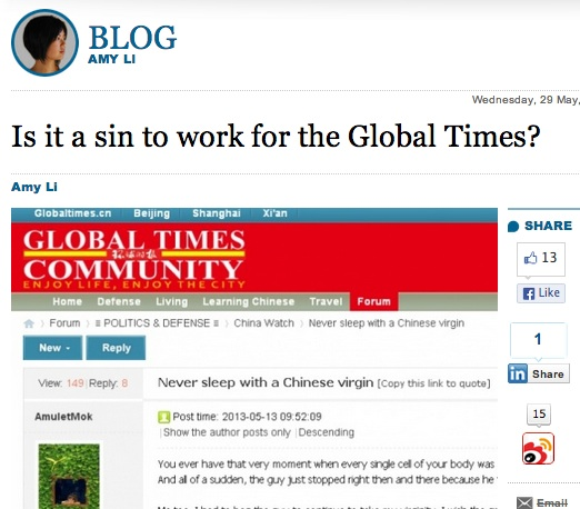 Is it a sin to work for Global Times?