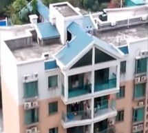 Crazy Kids Use Slanted Rooftop As Slide