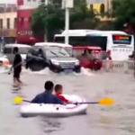 A Charming Reminder That When All Is Flooded, You Can Still Row, Row, Row Your Boat