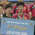 China 2nd place in East Asian Cup - close-up