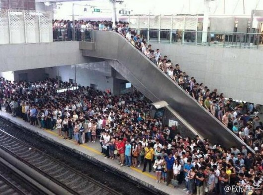 Congestion at Xierqi subway station in Beijing