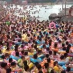 Crowded Chinese swimming pool