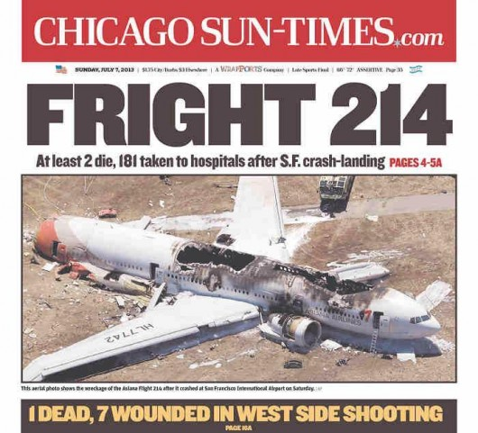 Fright 214 - Chicago Sun-Times headline