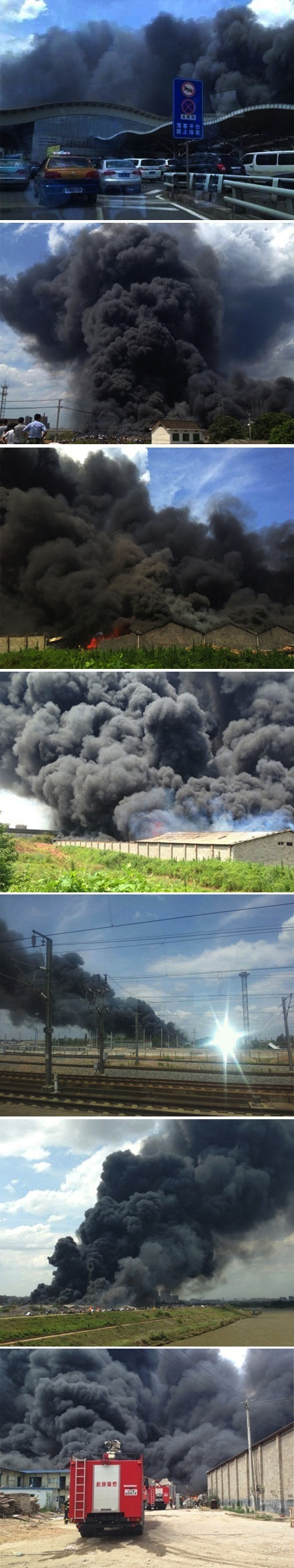 Huge fire near Changshai South Railway Station 3