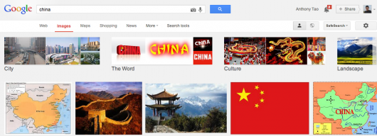 Normal Google image search for China