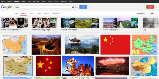 Normal Google image search for China Canada