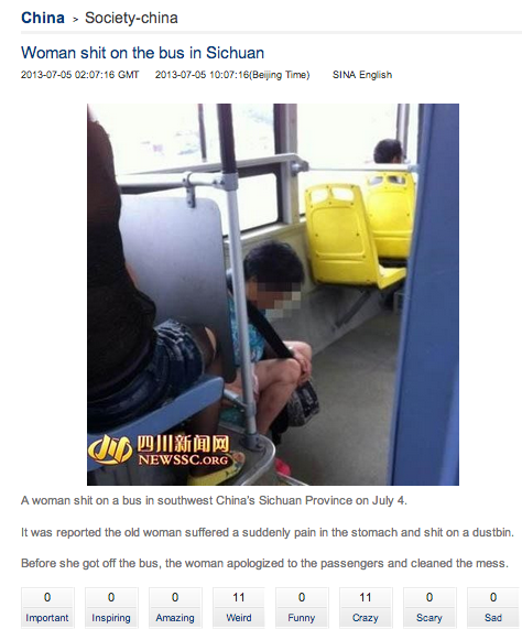 Woman poops on bus, Sina uses potty language